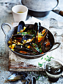 Mussels in Chilli Broth with Freekeh