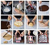 Making vanilla ice cream cake with chocolate and hazelnuts