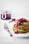 Spinach pancakes with lingonberry jam