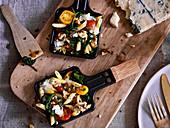 Penne mit Spinat und Gorgonzola aus dem Raclette