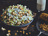 Popcorn salad with grilled corn and ranch dressing