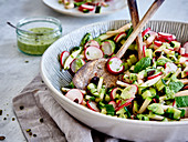 Radish salad with cucumber and mint