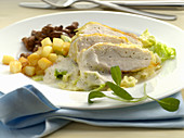 Chicken roulade with chanterelles