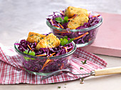 Red cabbage salad with carrots and baked sheep's cheese