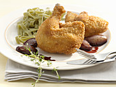 Poussin with red wine shallots and tagliatelle