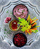 Oriental red bean mousse with crudités