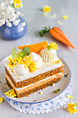 Piece layered carrot cake with cream
