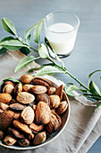 Glass of almond milk next to plate of almonds in shells on kitchen table