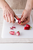 Decoratively cut radishes
