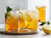Homemade iced tea with lemon slices