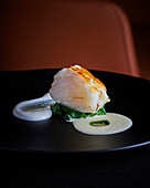 Monkfish fillet with spinach, verbena and Greek yoghurt