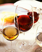 Red wine glasses and white wine glasses