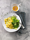 Potato salad with lambs lettuce and brown butter