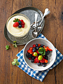 Airy lemon cream and marinated berries
