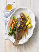 Roasted trout with vegetables