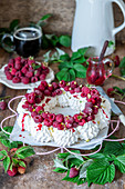 Raspberry meringue wreath