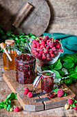 Raspberry mint jam with honey