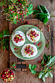 Wild strawberry mini pavlovas