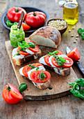 Pesto mozzarella toast with tomato