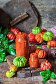 Homemade tomato sauce with basil