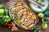 Apple pork chops with ginger, rosemary and chilly pepper