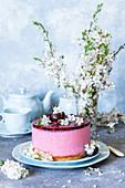 Kirschgelee-Kuchen aus Frischkäse und Gelatine