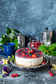 No bake vanilla cheesecake with berry jelly