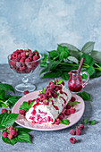 Raspberry meringue roll