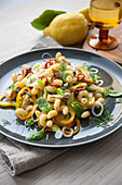 Cavatappi with chicken strips, vegetables, basil and dill