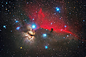 The Horse Head and Flame Nebulae in Orion,optical image