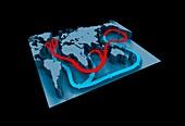 Global ocean thermohaline circulation,illustration