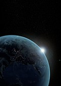 Earth at night before dawn,illustration