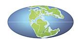 Continents 152 million years ago,illustration