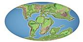 Continental drift,100 million years ago
