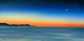 Moon and Venus at dawn,illustration