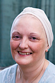 Chemotherapy patient wearing a towelling turban