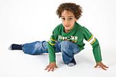 Little boy doing gymnastics