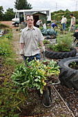 People with learning disabilities working on allotment