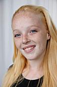 Portrait of white teenager