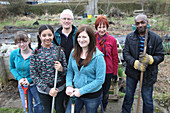 Portrait of gardening group on an allotment