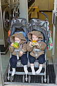 Twins in buggy at launderette