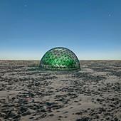 Geodesic dome in desert,illustration