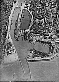 Invasion barges massed in Boulogne harbour, France, 1940