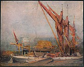 Hay Barges on the Thames, 1905