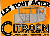 Advertisement for all-steel Citroen cars, c1924