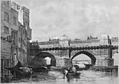 The Southwark End of Old London Bridge, 1831, (1912)