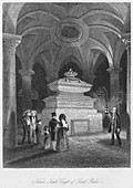 'Nelson's Tomb, Crypt of Saint Pauls', c1841