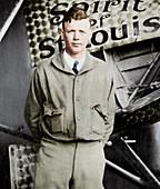 Charles Lindburgh, record breaking aviator, 1927
