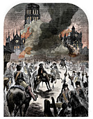 The burning of St Paul's Cathedral, Great Fire of London