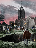 Filling a mass grave at night during the Plague of London